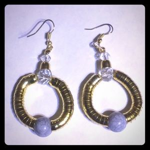 3/$15 gold toned and marble style bead earrings